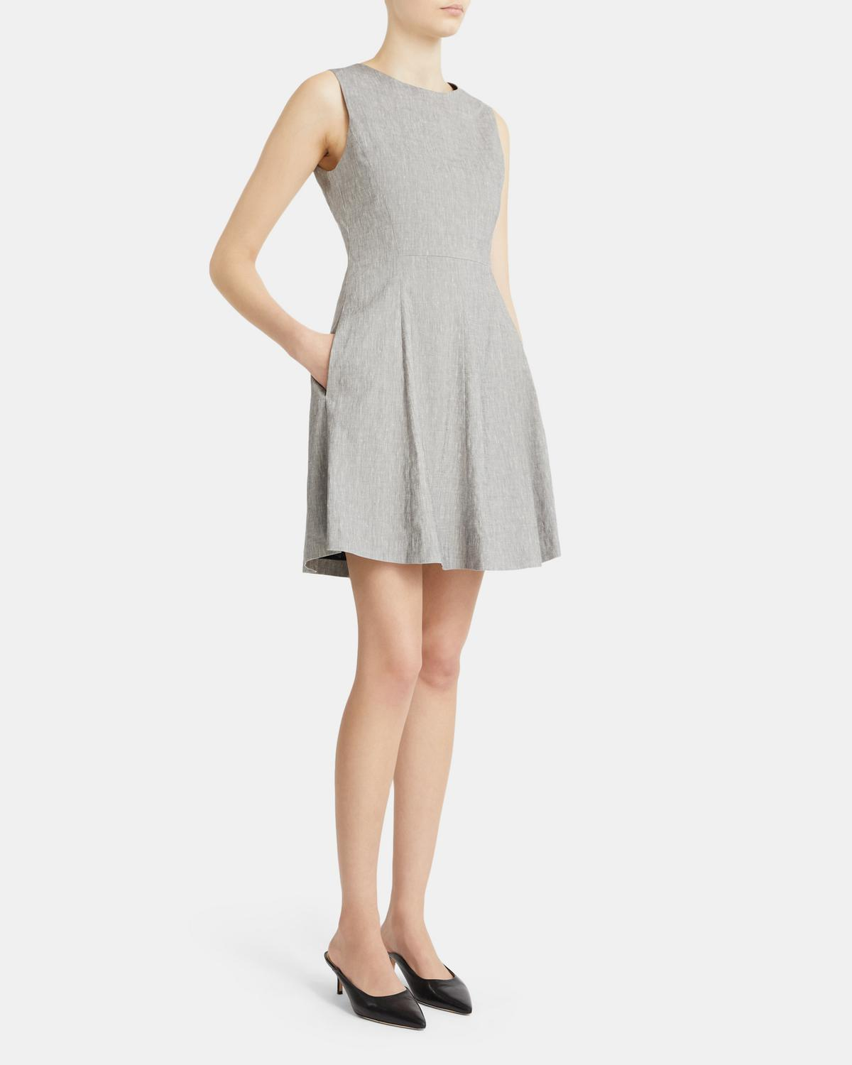 Albita Flare Dress in Mélange Stretch Linen