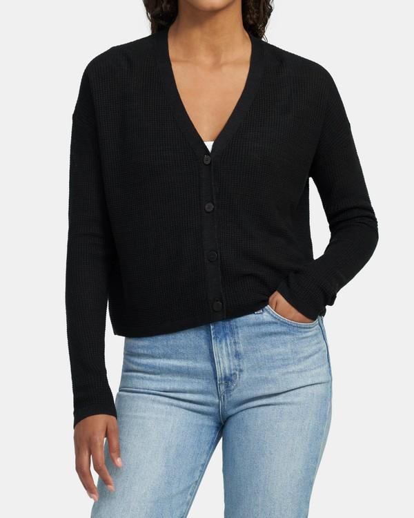 띠어리 가디건 Theory Textured Cardigan In Linen-Viscose,BLACK