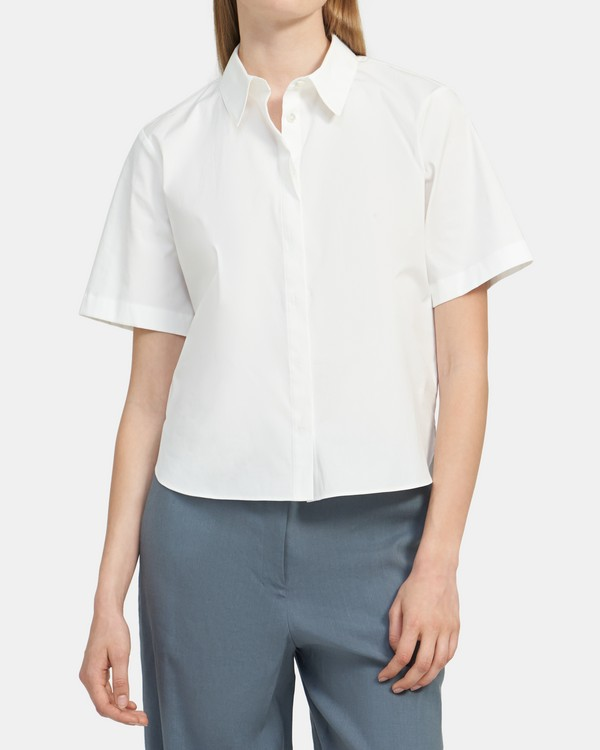 Short-Sleeve Button-Up Shirt in Stretch Cotton