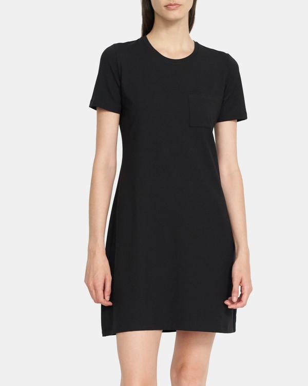 띠어리 티셔츠 원피스, 스트레치 코튼 Theory T-Shirt Dress in Stretch Cotton,BLACK