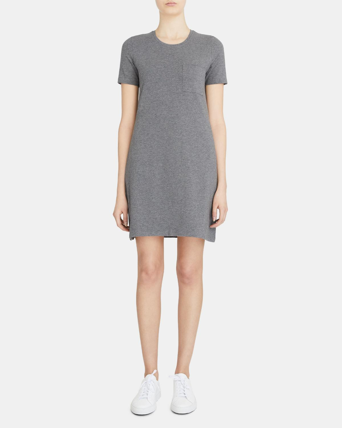 T-Shirt Dress in Mélange Stretch Cotton