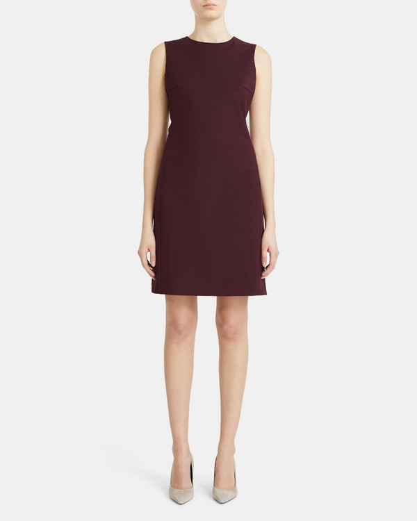 Sleeveless Fitted Dress in Double-Face Stretch Cotton