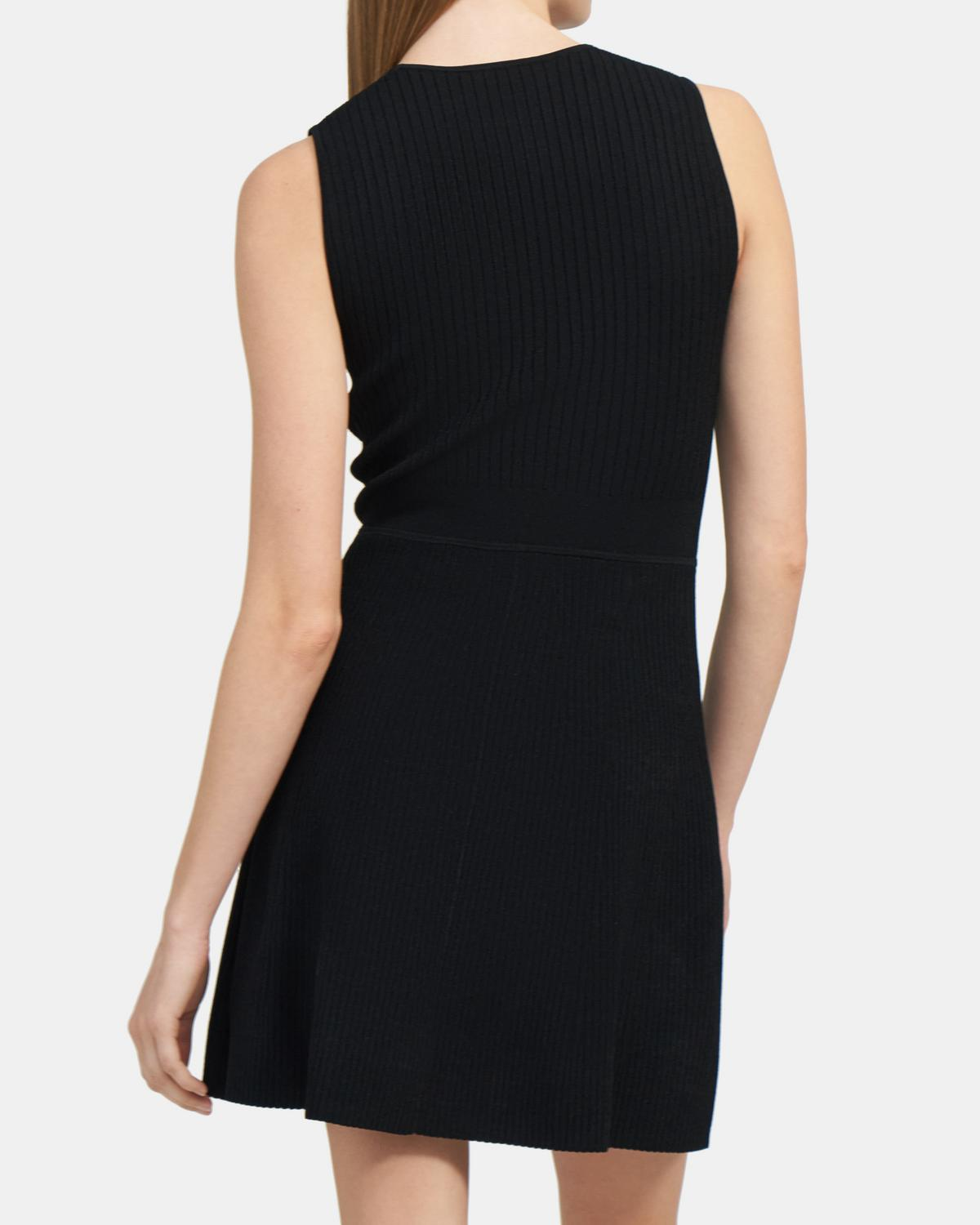 Ribbed Knit Flared Dress