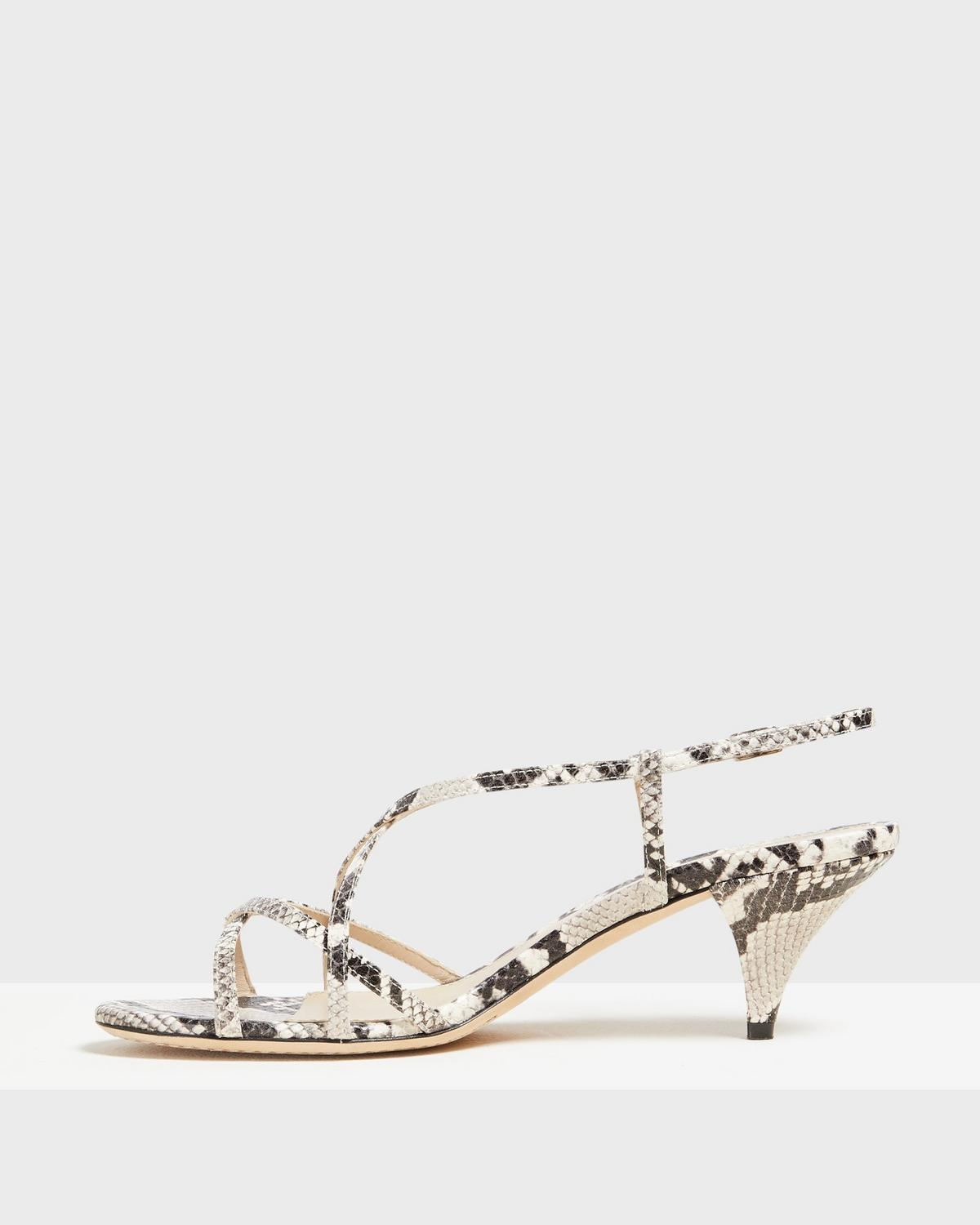 Strappy Sandal in Python Print Leather