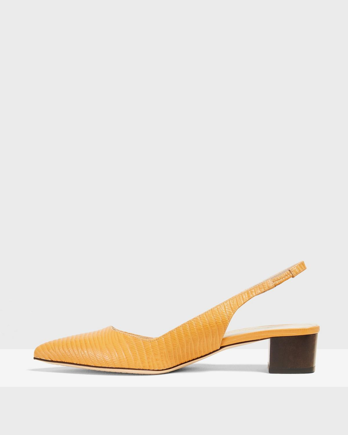 Block Slingback in Lizard Print Leather