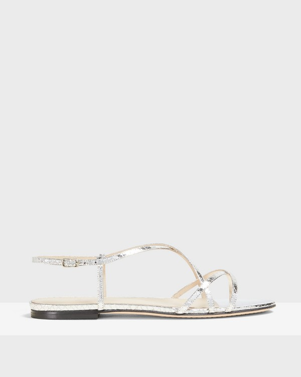 Strappy Flat Sandal in Python Print Leather
