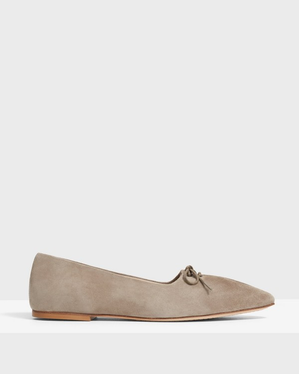 Pleated Ballet Flat in Suede
