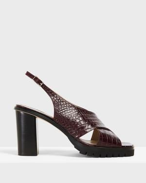 Cross Lug Heel in Croc Print Leather