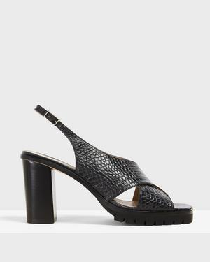 Cross Lug Heel in Croc Print Leather