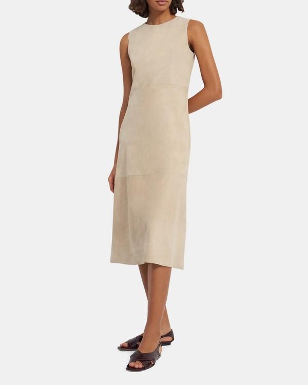 띠어리 원피스 Theory Clean Shift Dress in Suede,PALE SAND