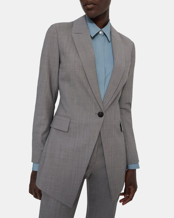 띠어리 Theory Etiennette Blazer in Geometric Good Wool,GREY MULTI
