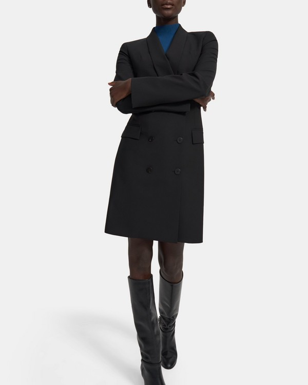 띠어리 Theory Shawl Blazer Dress in Good Wool,BLACK