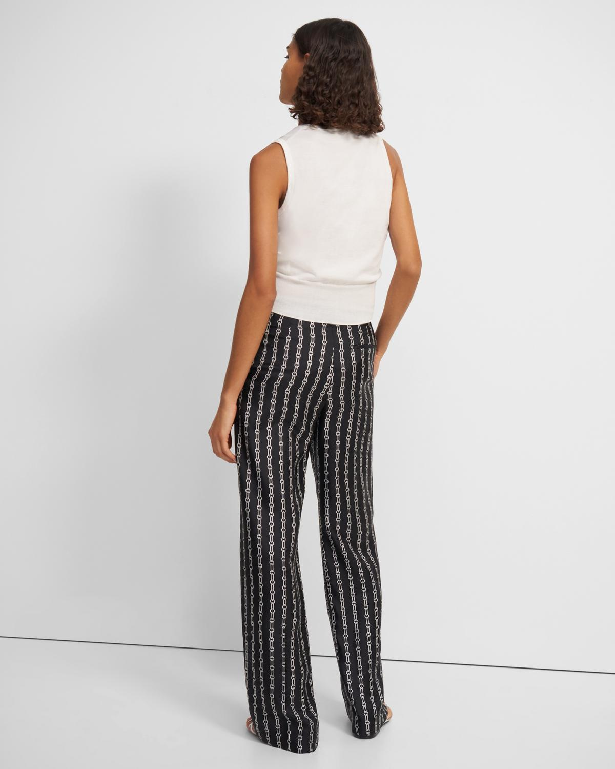 Wide Trouser in Chain Print Silk Twill