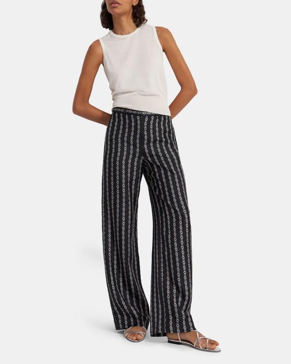 띠어리 바지 Theory Wide Trouser in Chain Print Silk Twill,BLACK MULTI