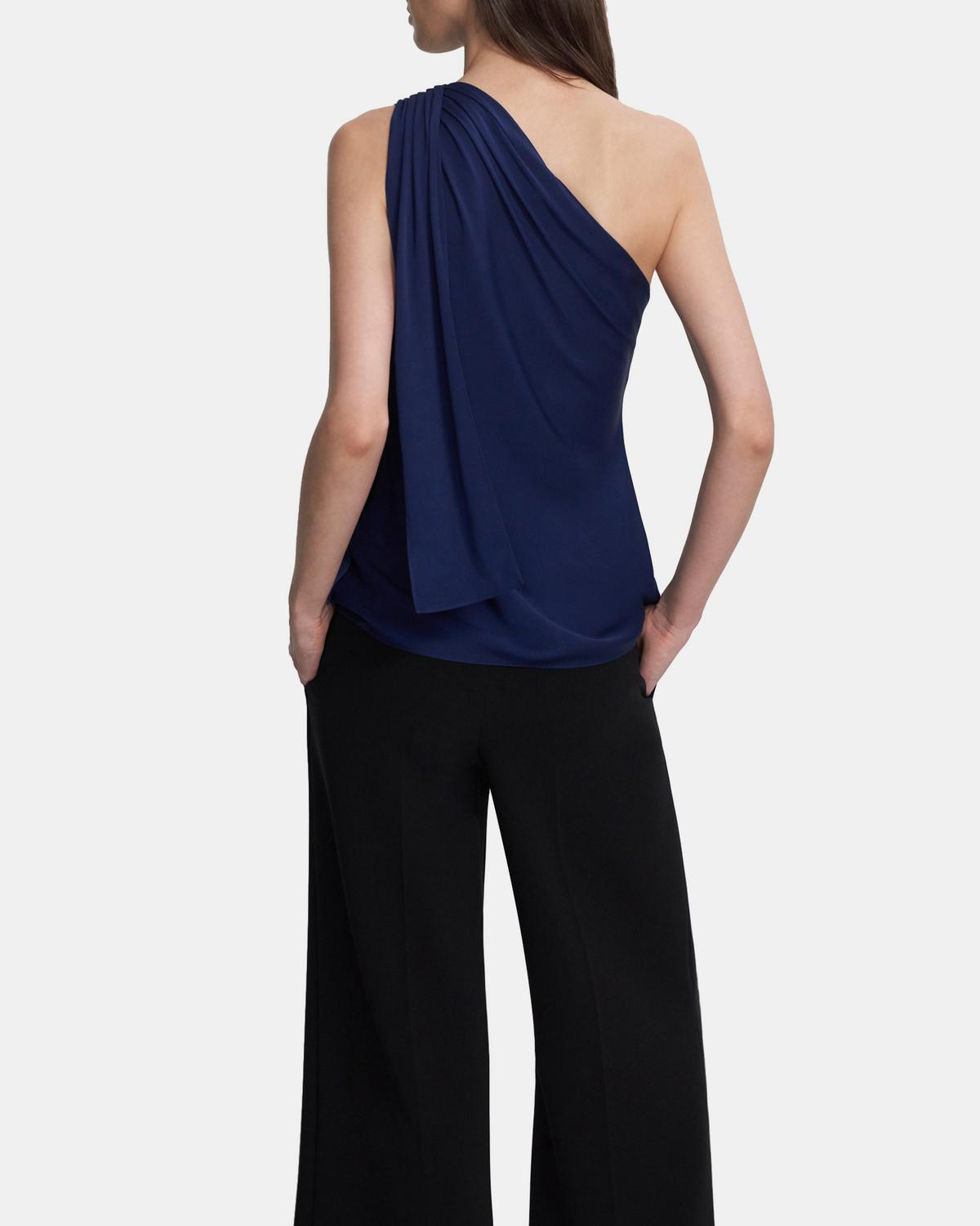 One Shoulder Top in Stretch Silk