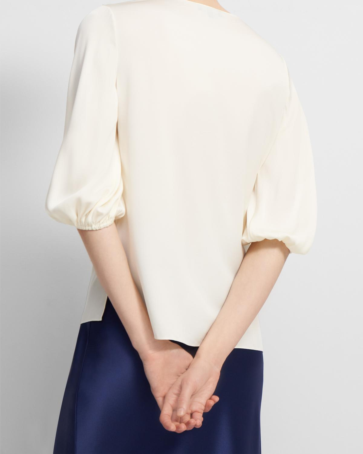 Volume Sleeve Top in Stretch Silk