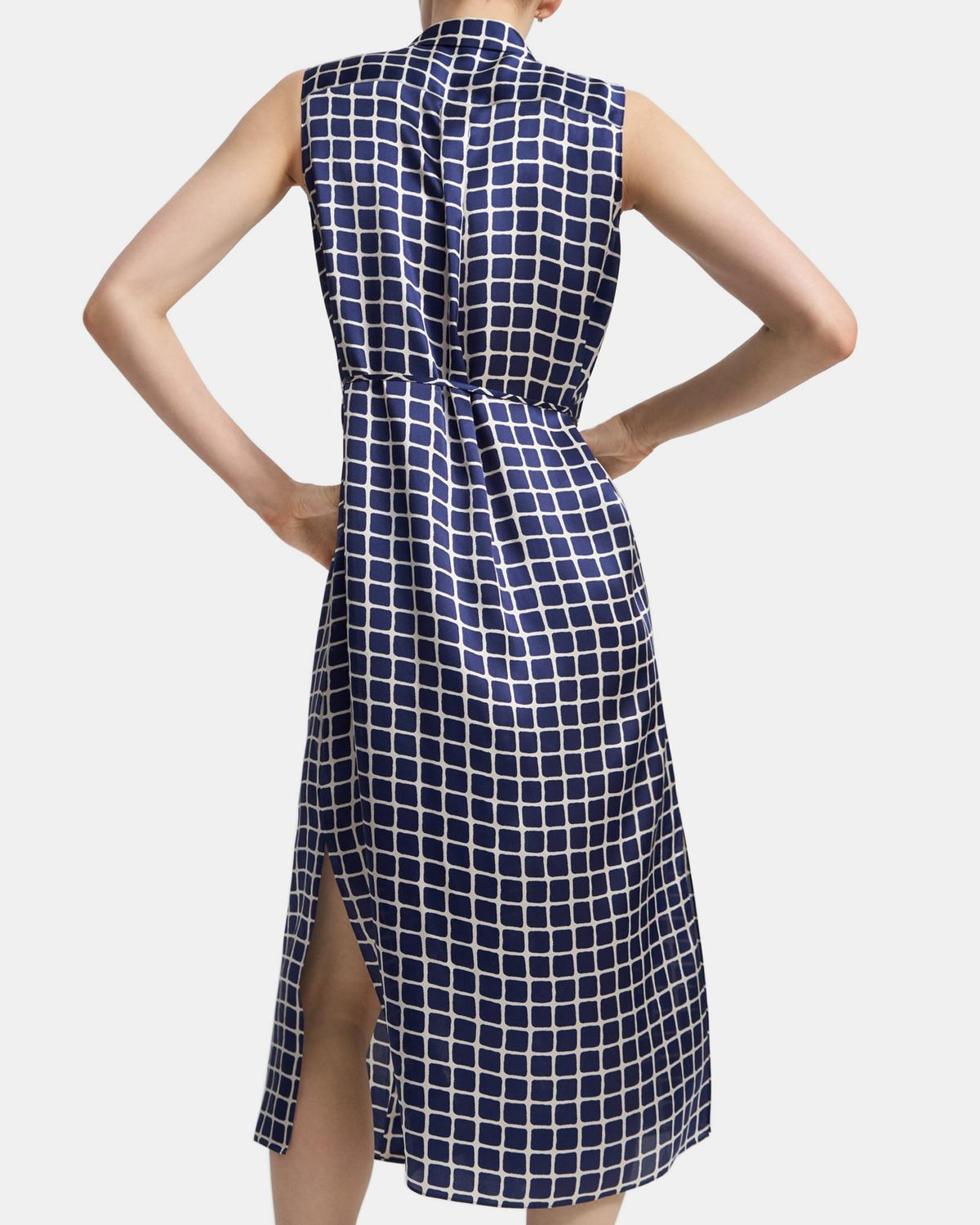 Sleeveless Shirtdress in Tile Print Satin