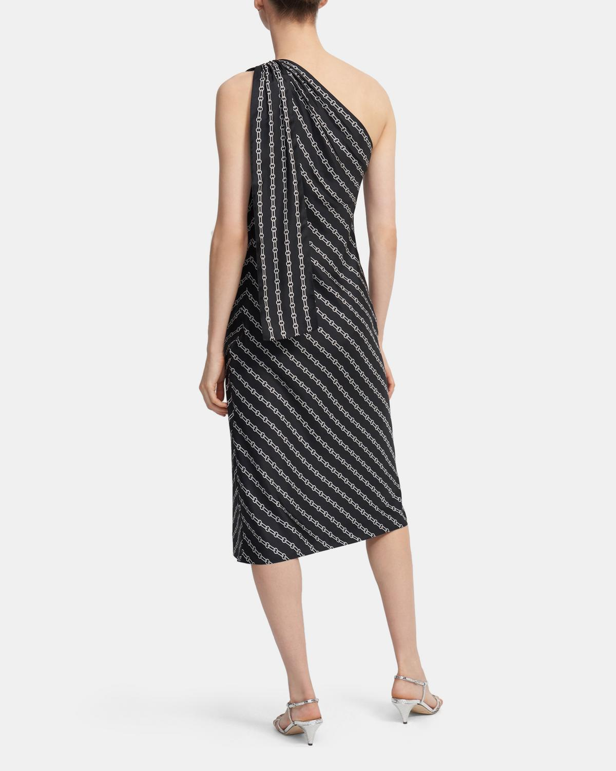 One Shoulder Dress in Chain Print Silk Twill
