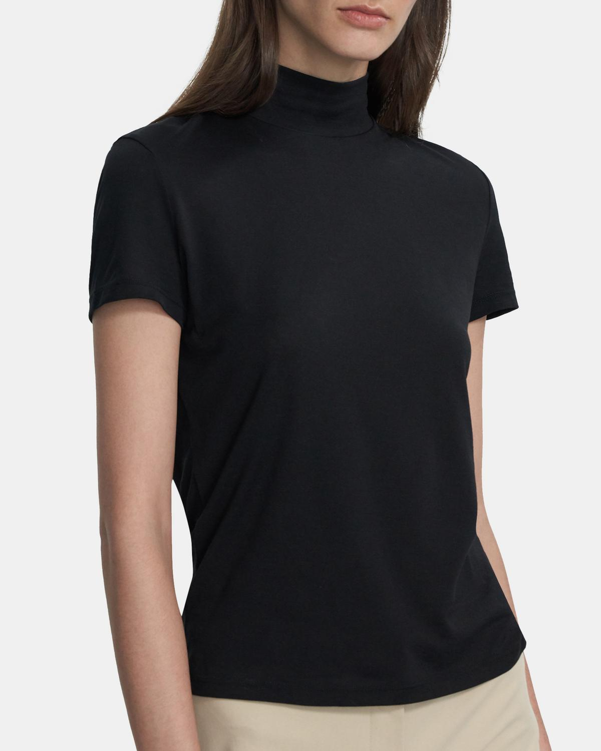 Tiny Mock Neck Tee in Cotton