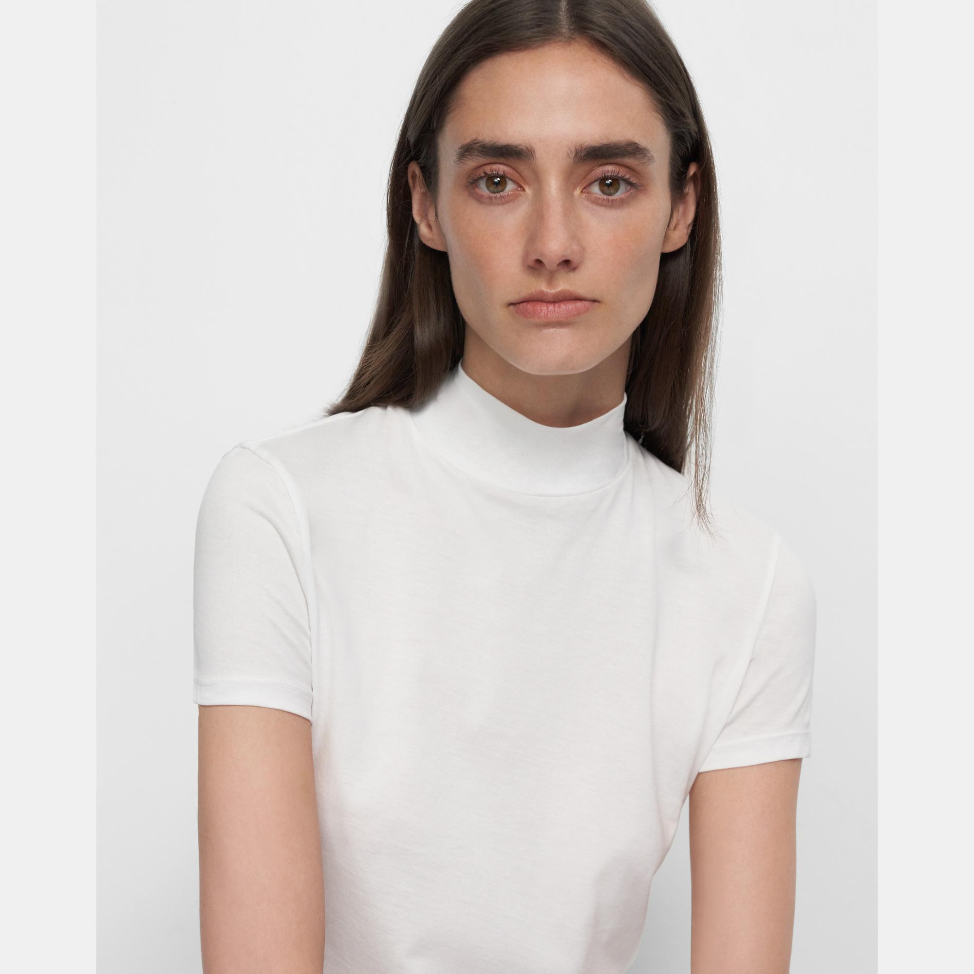 Tiny Mock Neck Tee in Cotton | Theory