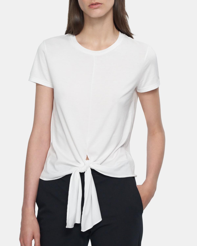 띠어리 타이 프론트 티셔츠 Theory Tie Front Tee in Cotton,WHITE