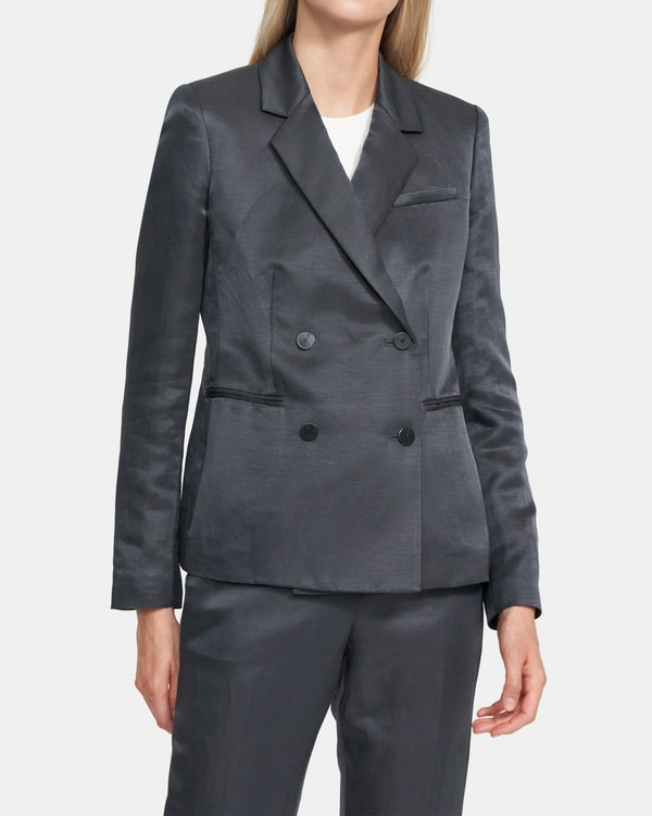 Double-Breasted Blazer in Shiny Linen