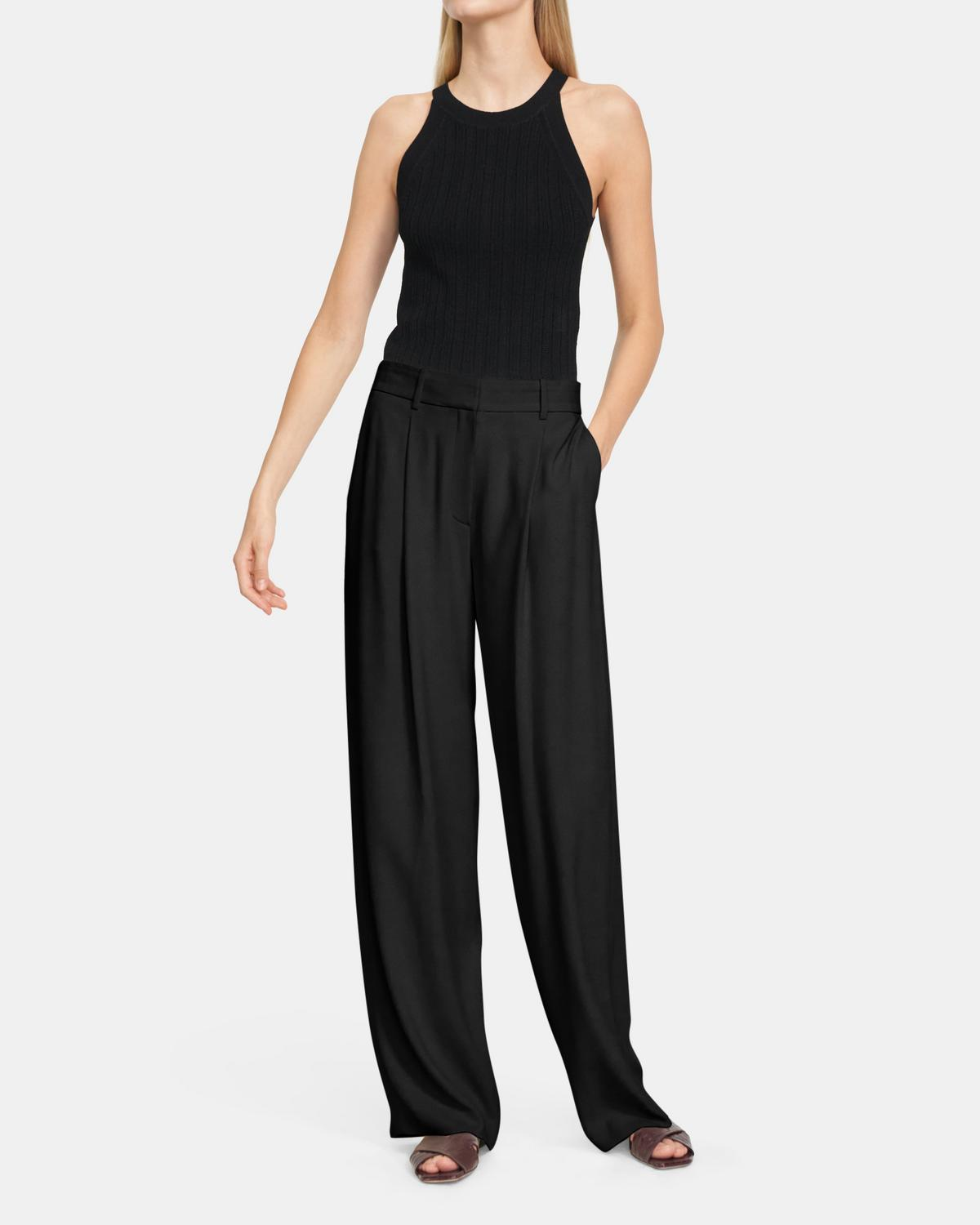 High-Waisted Wide-Leg Pant In Crepe
