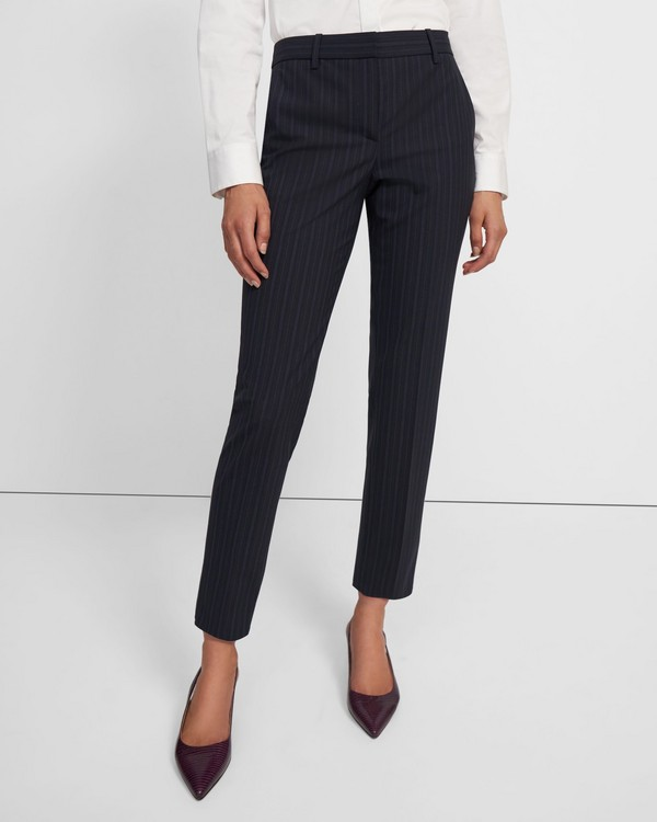 Treeca Pant in Striped Good Wool