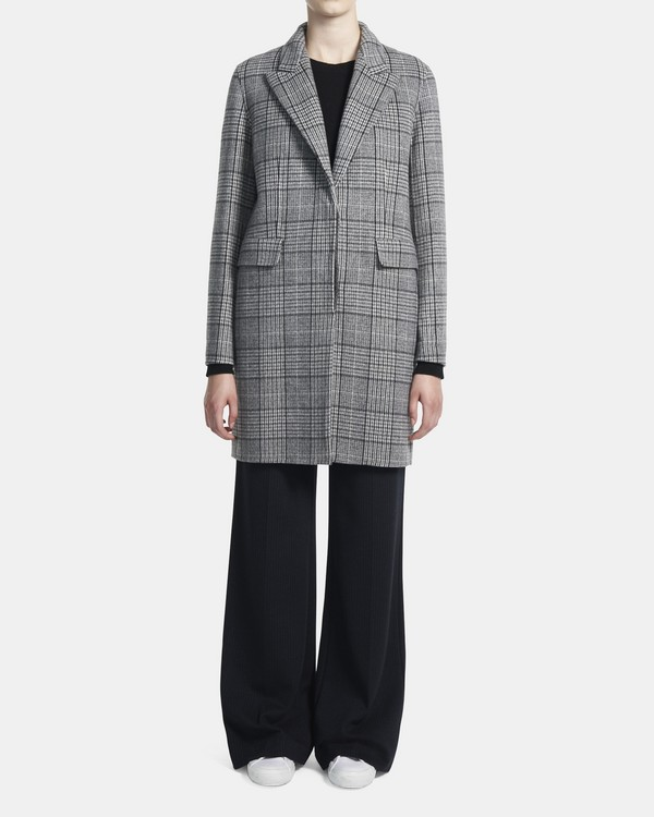 띠어리 Theory Clairene Jacket in Plaid Double-Face Wool-Cashmere,GREY MULTI