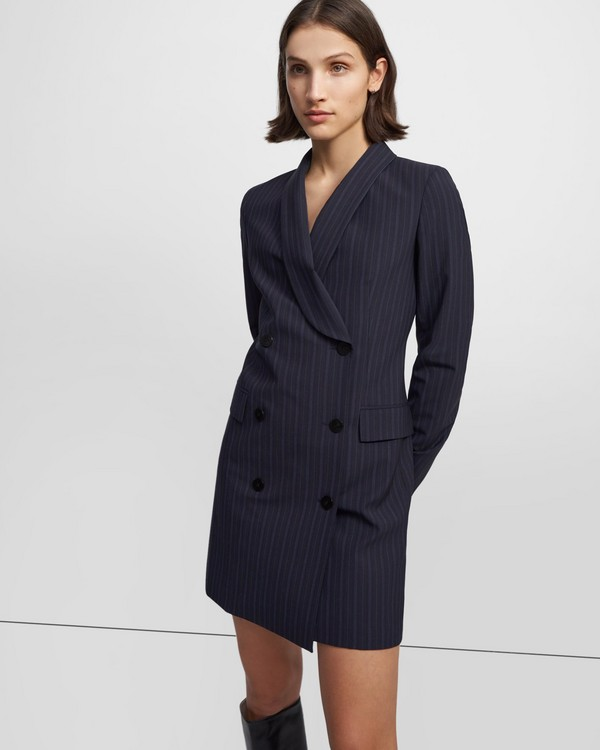 Shawl Blazer Dress in Striped Good Wool