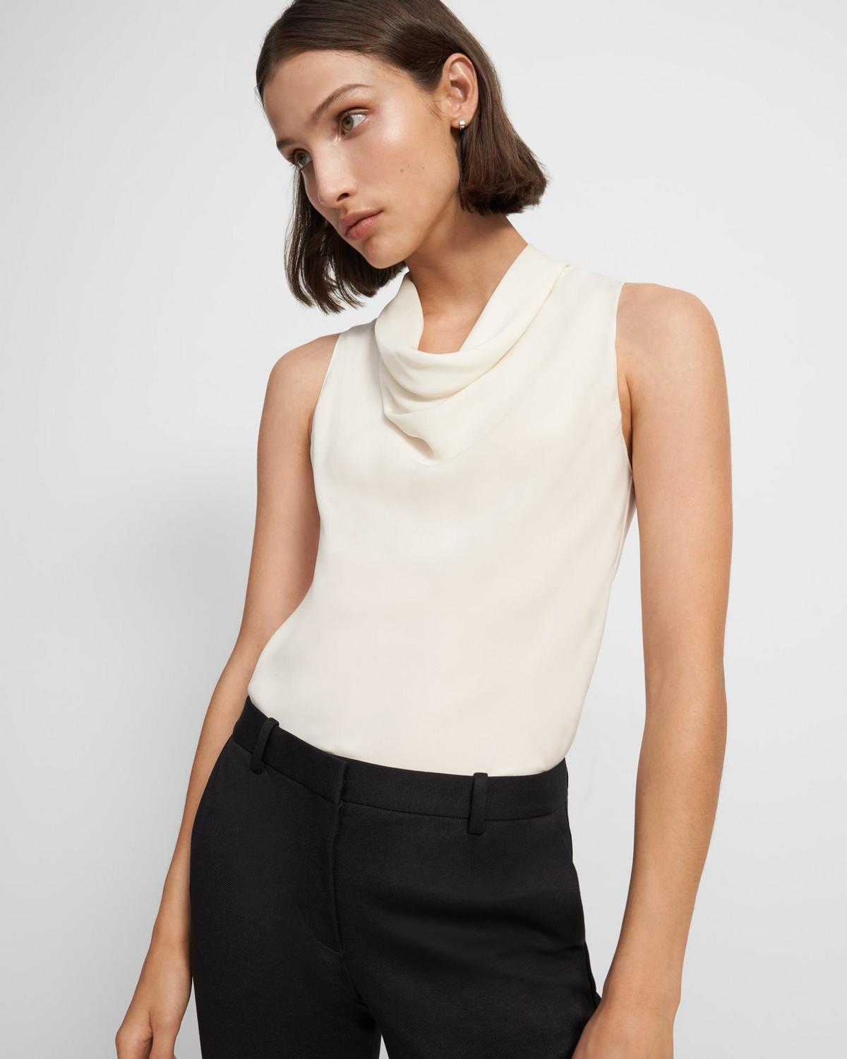Cowl Neck Top in Silk Georgette