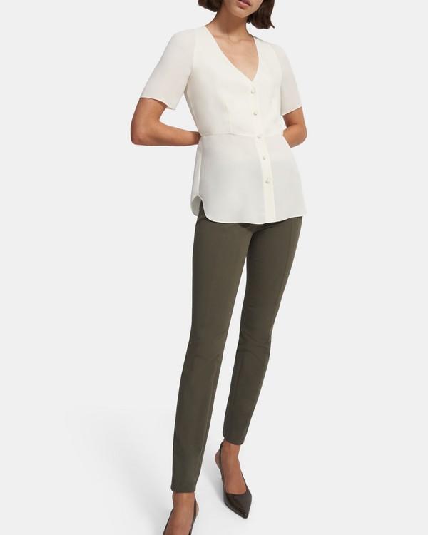 띠어리 Theory Vest Shirt in Silk Georgette,IVORY
