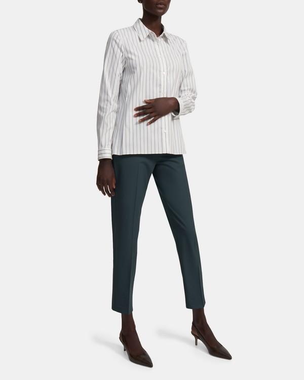 띠어리 Theory Trapeze Shirt in Striped Good Cotton,WHITE MULTI