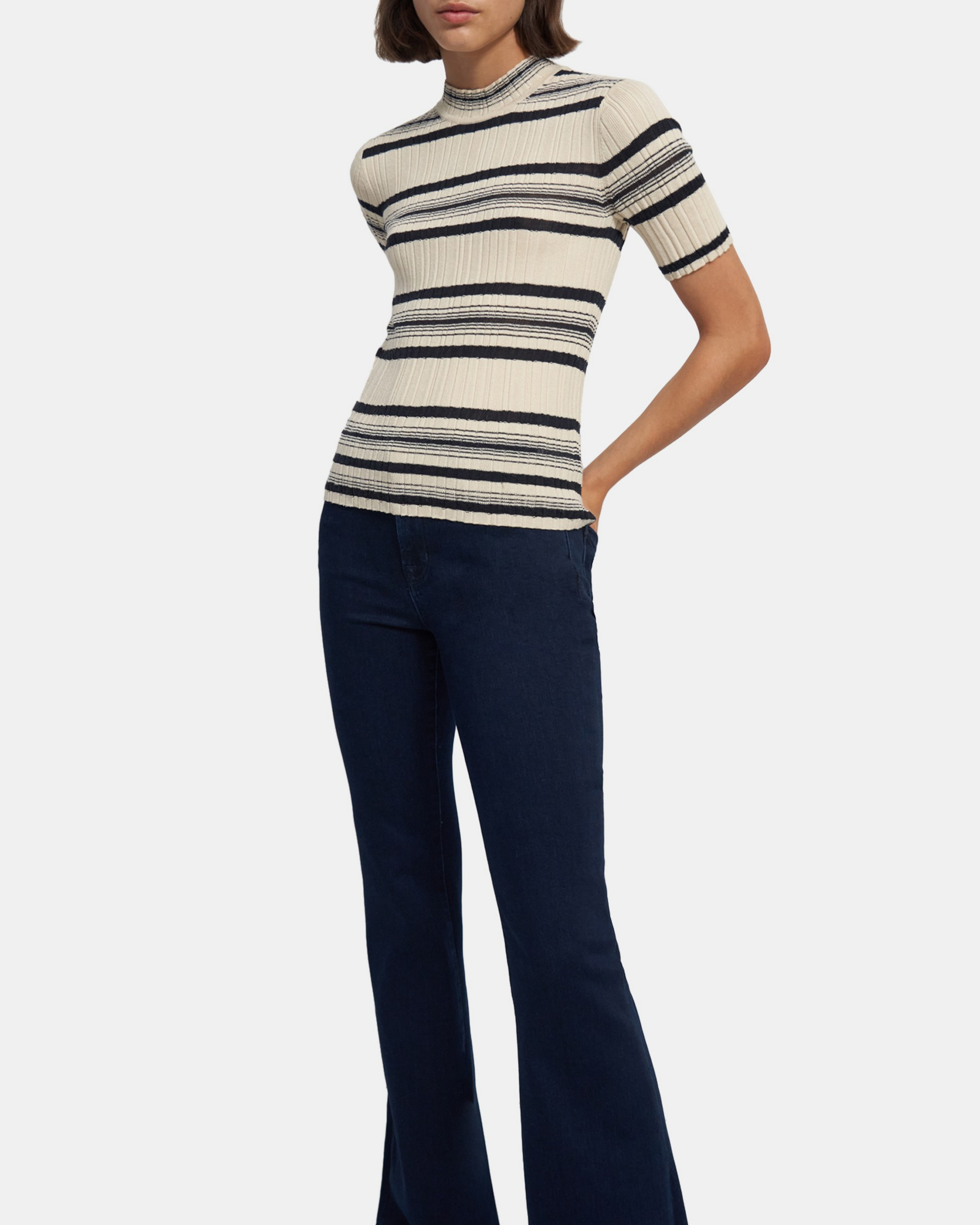 Theory Striped Ribbed Pullover in Wool-Viscose