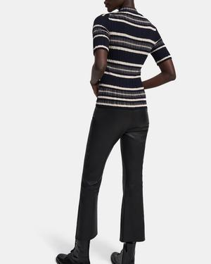 Striped Ribbed Pullover in Wool-Viscose