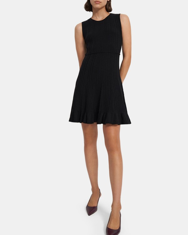 띠어리 Theory Linear Dress in Stretch Knit,BLACK