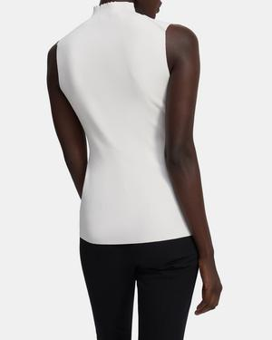 Sleeveless Turtleneck in Compact Crepe