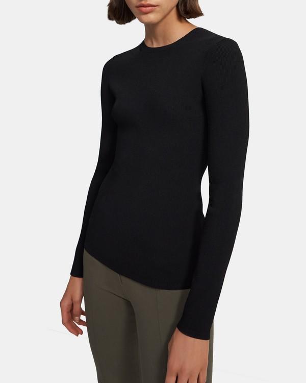 띠어리 Theory Crewneck Sweater in Compact Crepe,BLACK