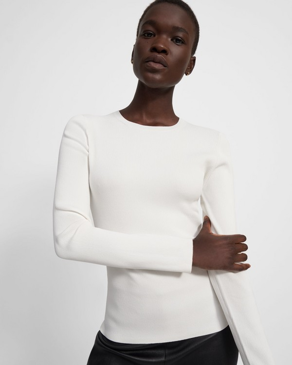 띠어리 Theory Crewneck Sweater in Compact Crepe,WHITE