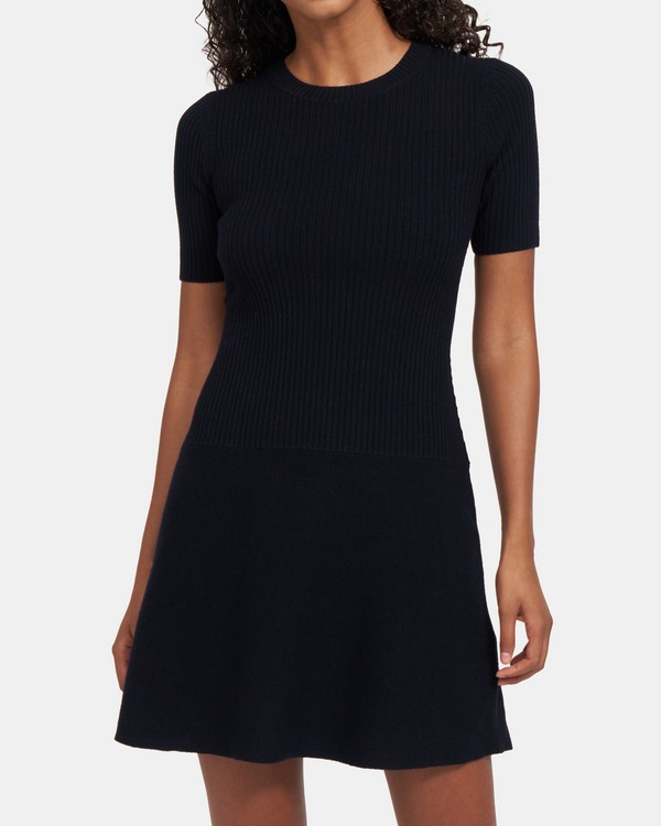 Crewneck Rib Dress in Stretch-Knit