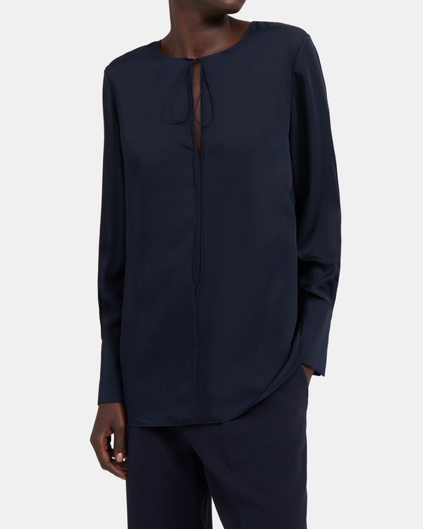 띠어리 실크 튜닉 Theory Fluid Tunic in Silk,DEEP NAVY
