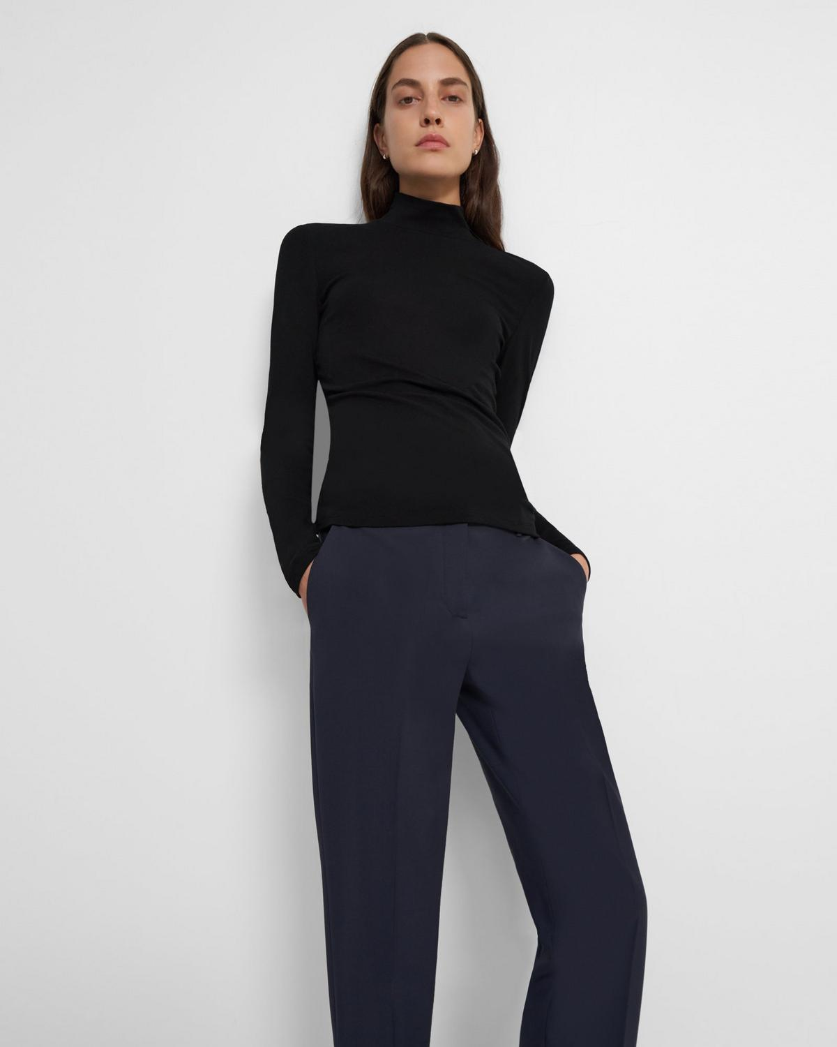 Turtleneck Sweater in Ribbed Viscose