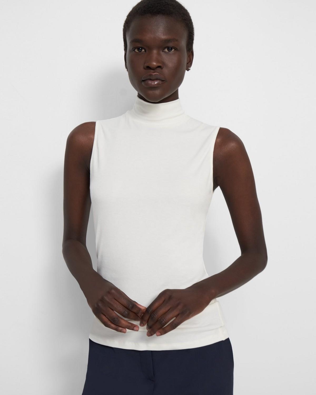 띠어리 민소매 터틀넥 스웨터, 골지 비스코스 - 블랙, 아이보리 Theory Sleeveless Turtleneck Sweater in Ribbed Viscose