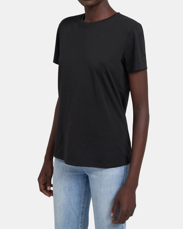 띠어리 Theory Classic Crewneck In Organic Pima Cotton,BLACK