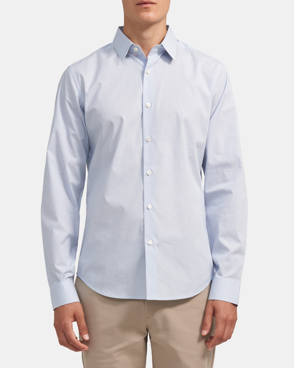 Tailored Shirt In Grid Stretch Cotton