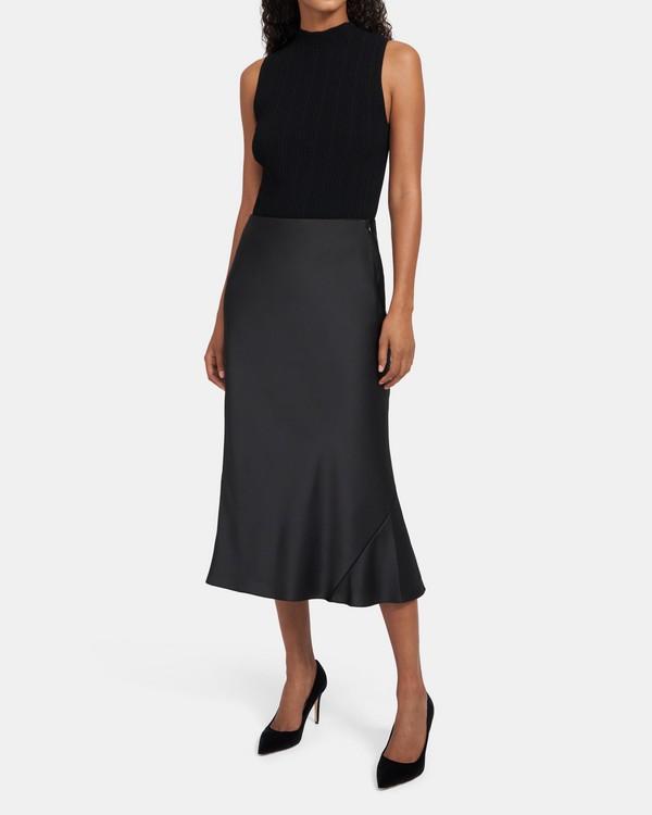 띠어리 새틴 스커트 - 블랙 Theory Bias Seam Skirt in Satin