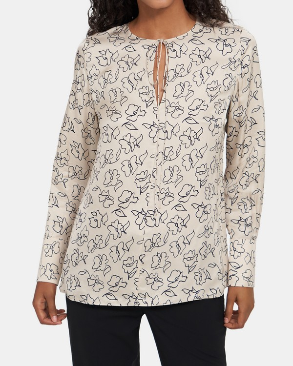 띠어리 비스코스 플로럴 튜닉 Theory Fluid Tunic in Viscose Floral,TAUPE MULTI