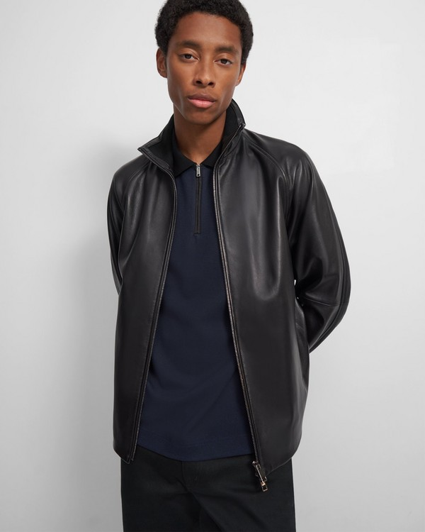 Stand Collar Jacket in Polished Nappa