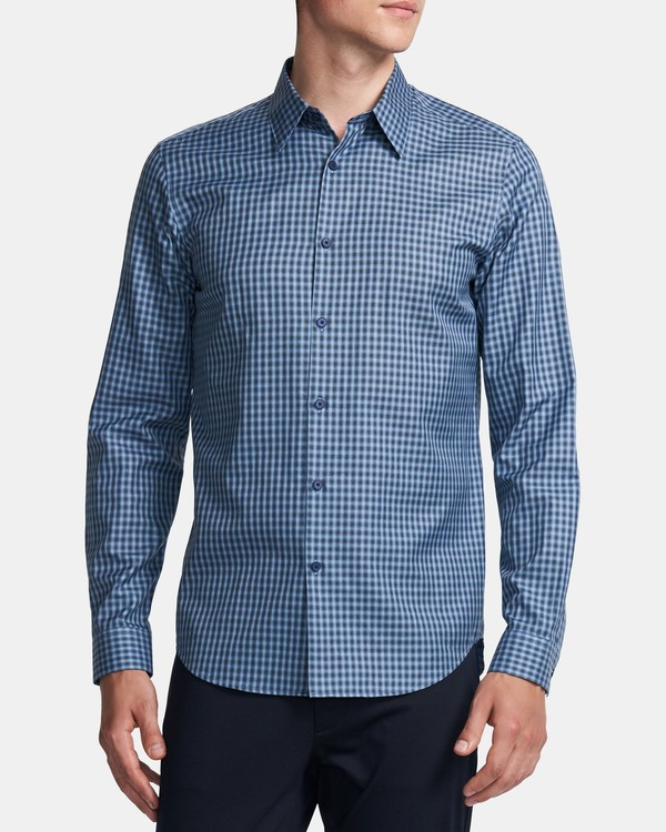 20FW 띠어리 맨 셔츠 Theory Irving Shirt in Check Cotton,HARBOR MULTI