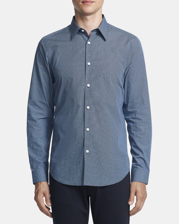 Tailored Shirt In Geometric Cotton